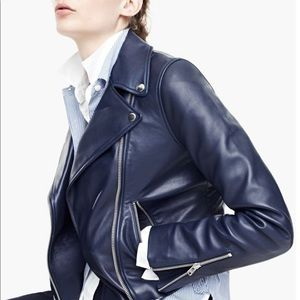 JCREW Collection Navy leather motorcycle jacket
